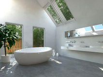Modern bathroom interior with oval bathtub Royalty Free Stock Image