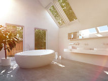 Modern bathroom interior with oval bathtub Stock Photos