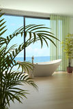 Modern bathroom interior with seascape view. A 3d rendering of modern bathroom interior Royalty Free Stock Photography