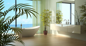 Modern bathroom interior with seascape view Royalty Free Stock Photos