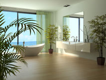 Modern bathroom interior with seascape view. A 3d rendering of modern bathroom interior Royalty Free Stock Photos