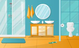 Modern bathroom interior with shower cabin. Bathroom furniture - stand with two sinks, towels, liquid soap, roundl mirror, toilet stock illustration
