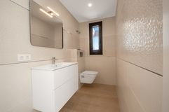 Modern bathroom interior with shower. Clean and fresh bathroom royalty free stock photos