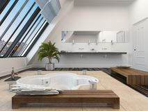 Modern bathroom interior with a sunken spa bath Stock Photography