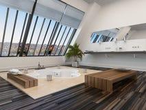 Modern bathroom interior with a sunken spa bath Royalty Free Stock Photography