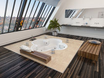 Modern bathroom interior with a sunken spa bath Royalty Free Stock Photography