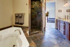Modern bathroom interior with tile shower trim Royalty Free Stock Photos