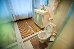 Modern bathroom interior with toilet and shower stock image