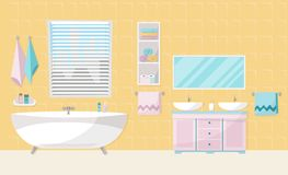 Modern bathroom interior with tub. Bathroom furniture - bath, stand with two sinks, shelf with towels, liquid soap, shampoo, large vector illustration