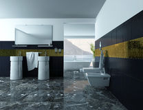Modern Bathroom Interior with wash basin and tiles. Picture of modern bathroom Interior with wash basin and black tiles Royalty Free Stock Photo