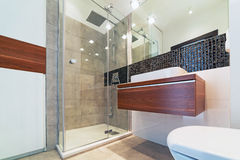 Modern bathroom interior. Modern white and black bathroom interior Royalty Free Stock Photography