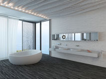 Modern bathroom interior with window and snowy landscape view Royalty Free Stock Photography
