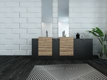 Modern bathroom interior with wooden furniture. Picture of modern bathroom interior with wooden furniture royalty free stock images