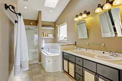 Modern bathroom intrerior in brown and beige colors Royalty Free Stock Photo
