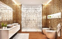 Modern bathroom with a large shower room and a beautiful mosaic pattern. Bathroom with a large shower room and a beautiful mosaic pattern stock image