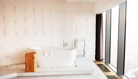Modern bathroom in light colours. Modern bathroom in light colours Royalty Free Stock Images