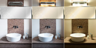 Modern bathroom, light different. Different Light in a bathroom. Luxury, modern and mosaic tiles Stock Photos