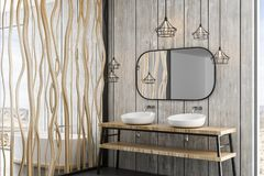 Wooden canes wall in modern bathroom. Modern bathroom with loft details, white bath, wooden canes wall and nature view. 3d rendering Stock Illustration