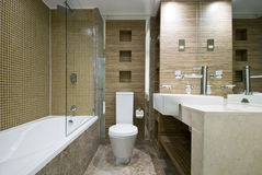 Modern bathroom with marble floor and mosaic tiles Stock Photos
