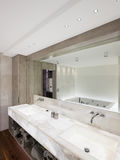 Modern bathroom with marble and parquet, nobody Stock Image