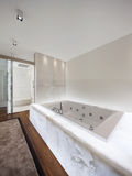 Modern bathroom with marble and parquet, nobody. Modern bathroom with marble and parquet Stock Photo