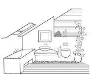 Modern bathroom minimalism eco. Vector scheme of chic minimalist bathroom in the attic with window with wooden boards, pebbles and flowers, in black lines on a Royalty Free Stock Photography