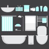 Modern bathroom ocons set in flat style Stock Photos