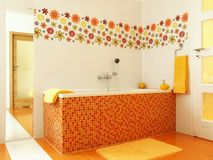 Modern bathroom in orange color Stock Photo