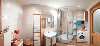 Modern bathroom panorama royalty free stock images