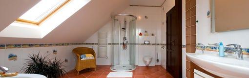 Modern bathroom panorama stock photography