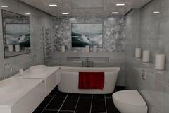 Modern bathroom. Polished tiles. Stock Image