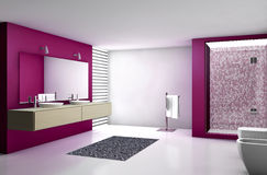 Modern Bathroom Red. Contemporary bathroom with modern design and furniture, colored in red, maple and white, 3d rendering Royalty Free Stock Photo