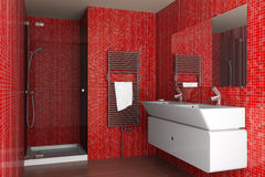 Modern bathroom with red mosaic tiles Stock Images