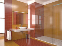 Modern bathroom with red and orange tiles. (view 2 Stock Photos