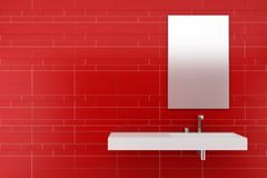 Modern bathroom with red tiles Stock Photos