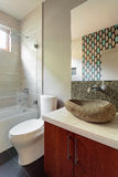 Modern bathroom with rock sink fixture Royalty Free Stock Photos