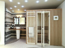 Modern bathroom with sauna Stock Photo