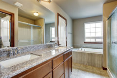 Modern bathroom with separate toilet room. Royalty Free Stock Images