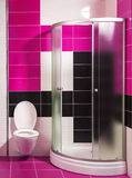 Modern bathroom with shower and stylish tiles Royalty Free Stock Photography