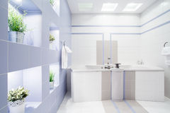 Modern bathroom. Spacious modern bathroom with enormous bath royalty free stock photos