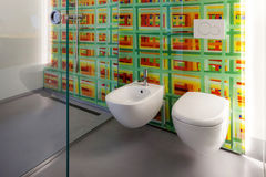 Modern bathroom, toilet and bidet Royalty Free Stock Image