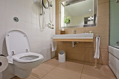 Modern bathroom with  toilet sink Stock Photos