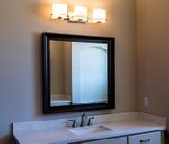 Modern Bathroom Vanity Mirror and Lights Stock Photos