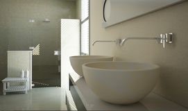 Modern bathroom view with close up on the sinks Royalty Free Stock Images