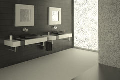 Modern Bathroom View With A Decorated Large Glass Stock Image