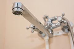 Modern bathroom washbasin with chrome faucet Stock Images