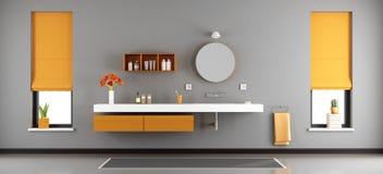 Modern bathroom with washbasin. Gray and orange modern bathroom with washbasin built in shelf - 3d rendering Stock Photography