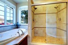 Modern bathroom with whirlpool tub and glass door shower. Modern bathroom interior with whirlpool tub and glass door shower Stock Photography