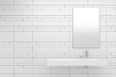 Modern bathroom with white tiles Royalty Free Stock Photography