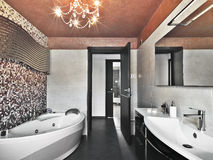 Modern bathroom wit bathtub and washbasin Royalty Free Stock Photography